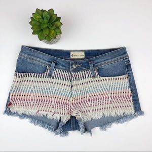 Roxy Colorful Crochet Front Jean Shorts Frayed